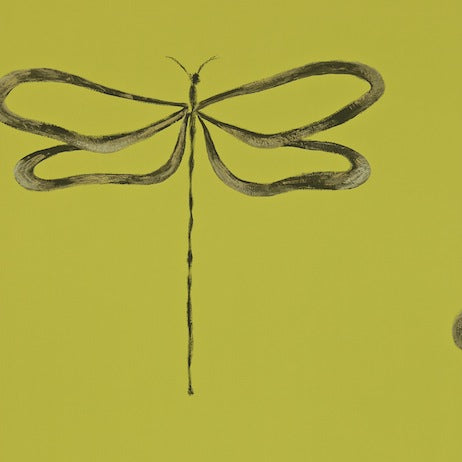 Dragonfly Avocado Gilver and Pewter Wallpapers