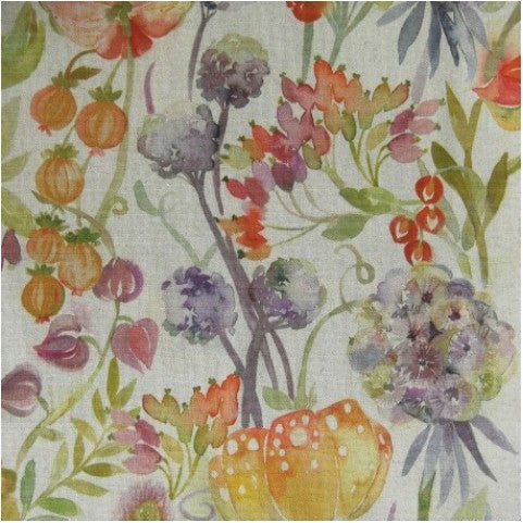 Autumn Floral Linen Fabric by the Metre