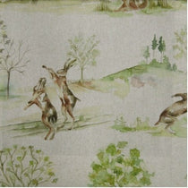 Boxing Hares Linen Fabric by the Metre