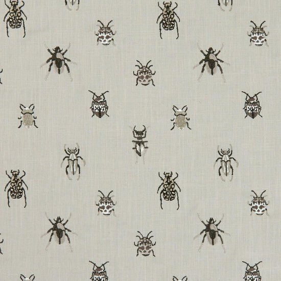 Beetle Charcoal Natural Curtains