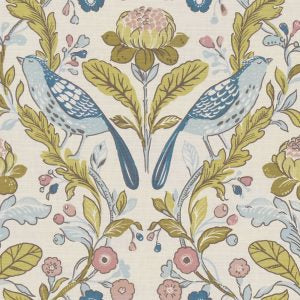 Orchard Birds Teal Blush Upholstered Pelmets