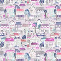 Village Streets Blossom Fabric by the Metre