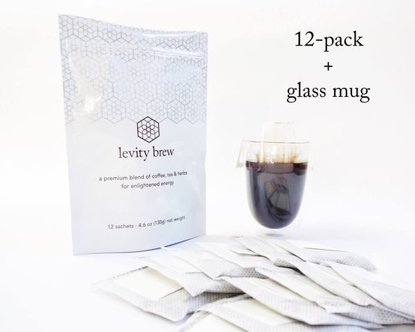 levity brew 12-pack and glass mug gift set