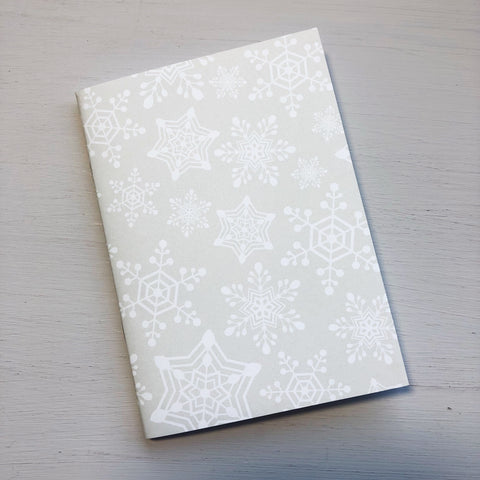 White Snowflake Passport Size Notebook