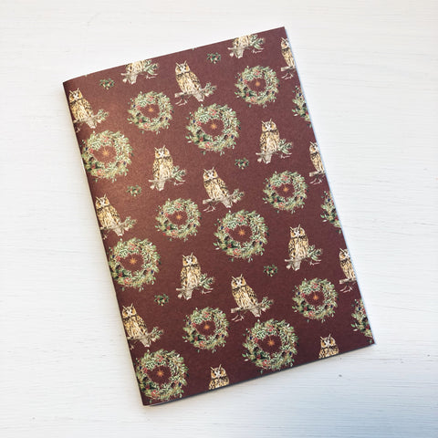 Owl & Christmas Wreath A6 Size Notebook