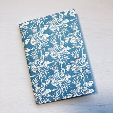 Vintage Blue/White Flower A6 Size Notebook