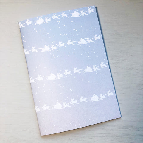 Sleigh & Reindeer in the Sky A5 Size Notebook