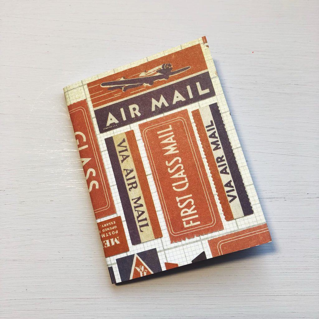 Vintage Air Mail Label Micro Size Notebook