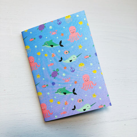 Cute Sea Life Passport Size Notebook