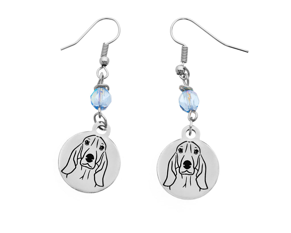 Basset Hound Portrait Earrings