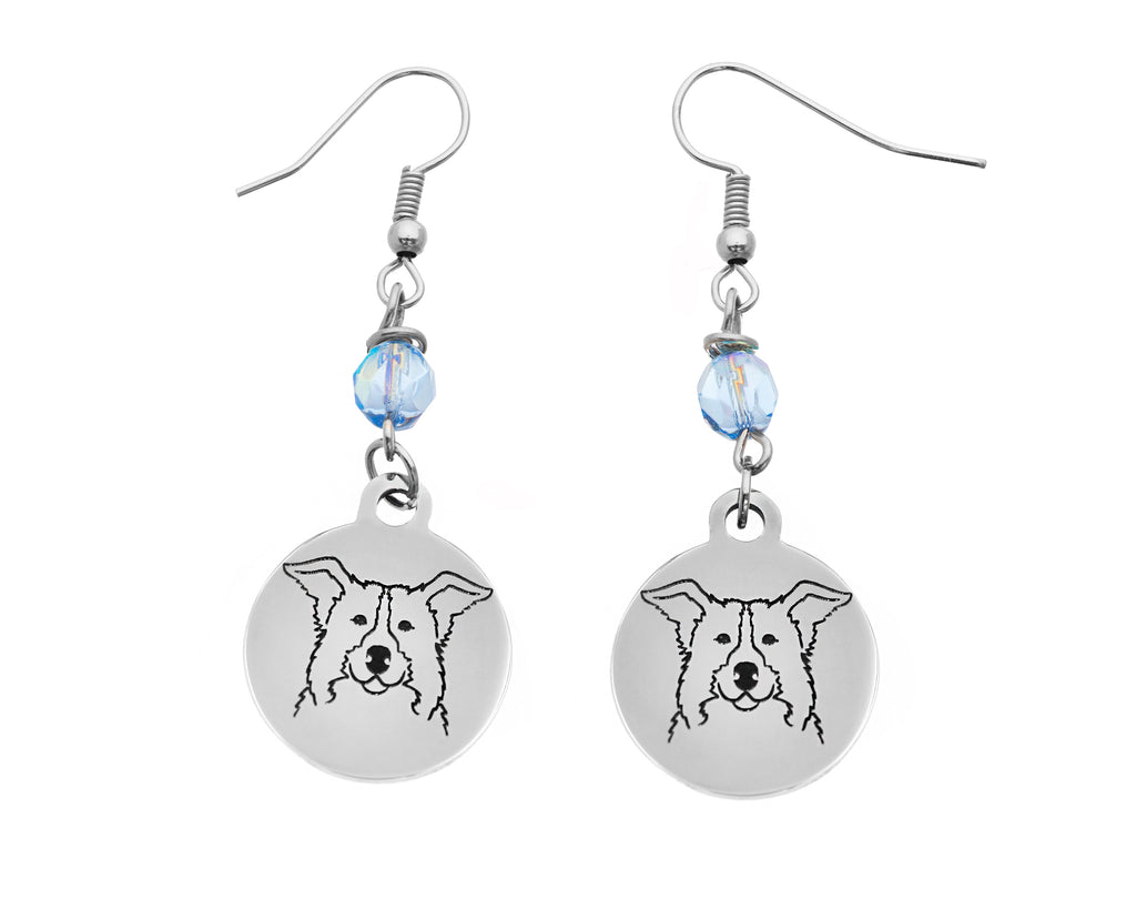Border Collie Portrait Earrings