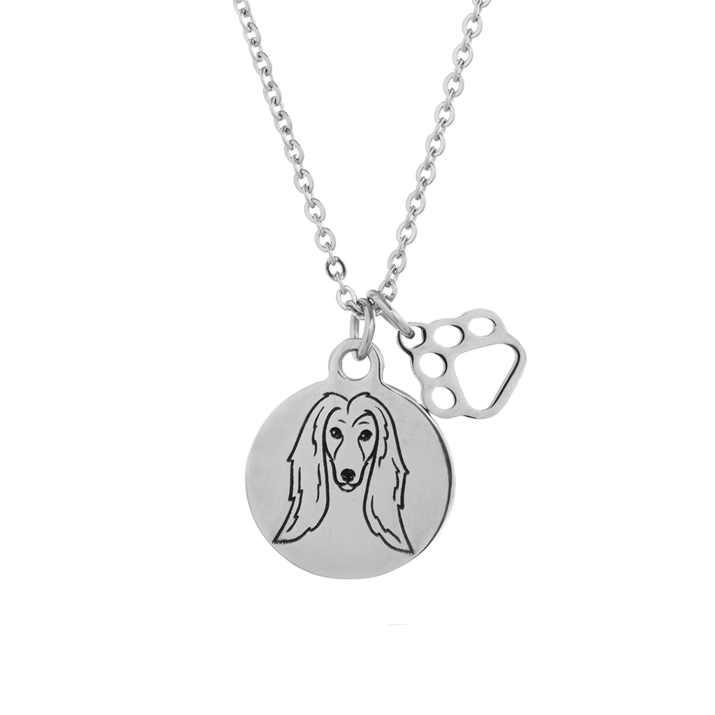 Afghan Hound Portrait Necklace
