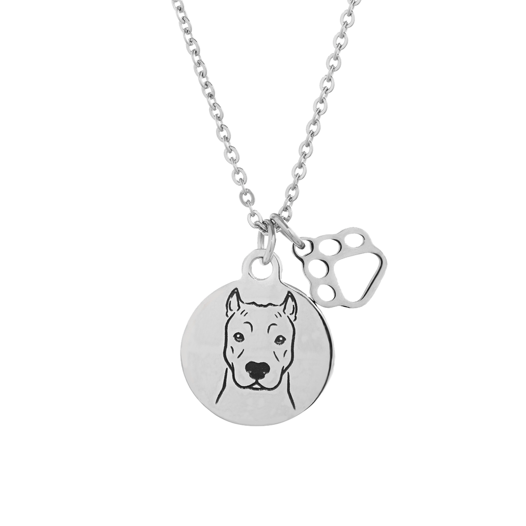 Pit Bull (Cropped Ears) Portrait Necklace