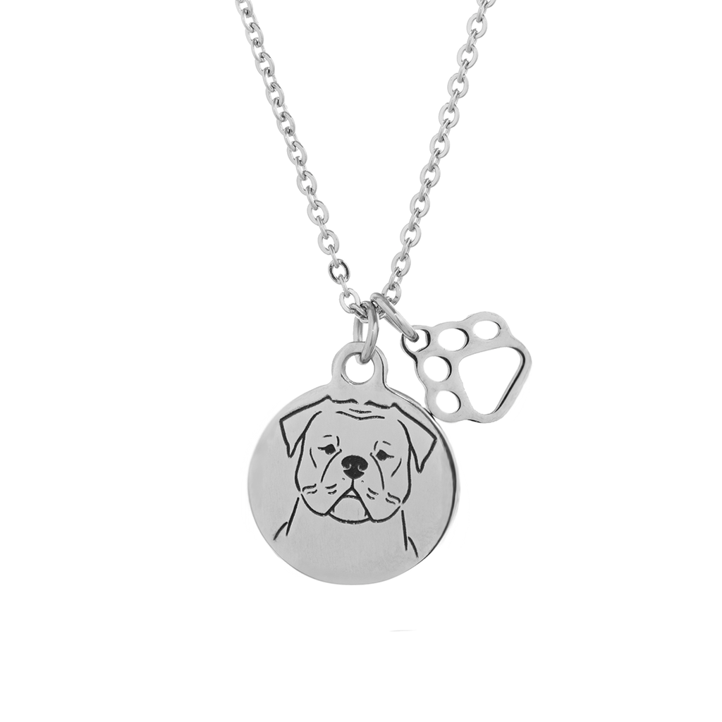 American Bulldog Portrait Necklace