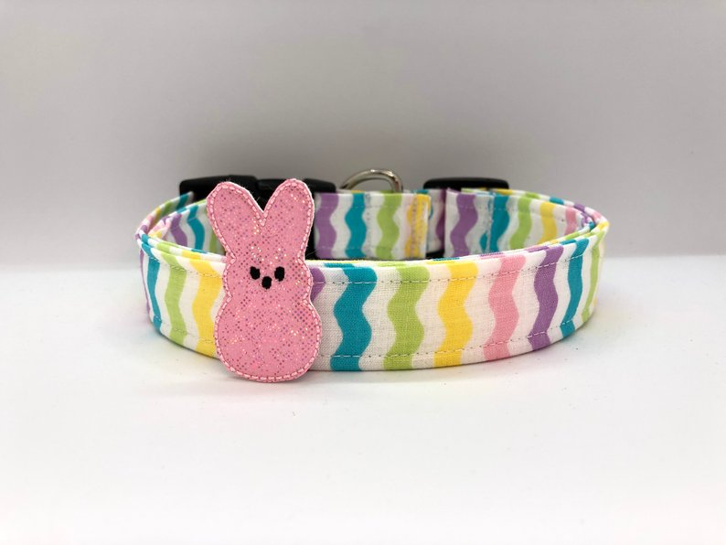 Easter Stripe Dog Collar (w/ Optional Pink Bunny Embellishment)
