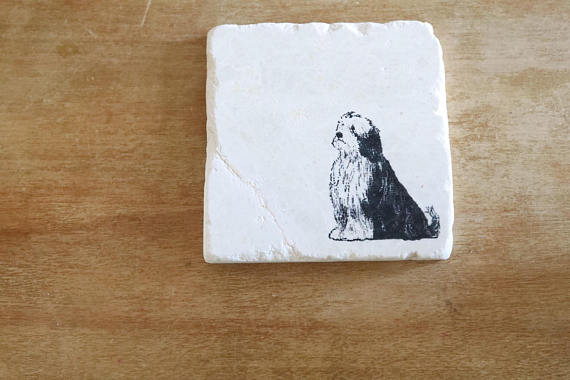 Bearded Collie Coaster or Trivet Set