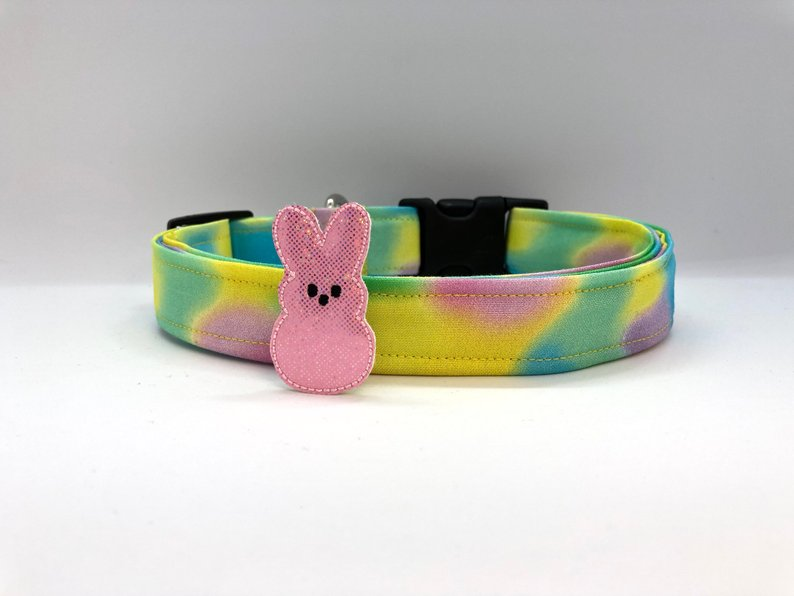 Easter Cotton Candy Swirl Dog Collar (w/ Optional Pink Bunny Embellishment)
