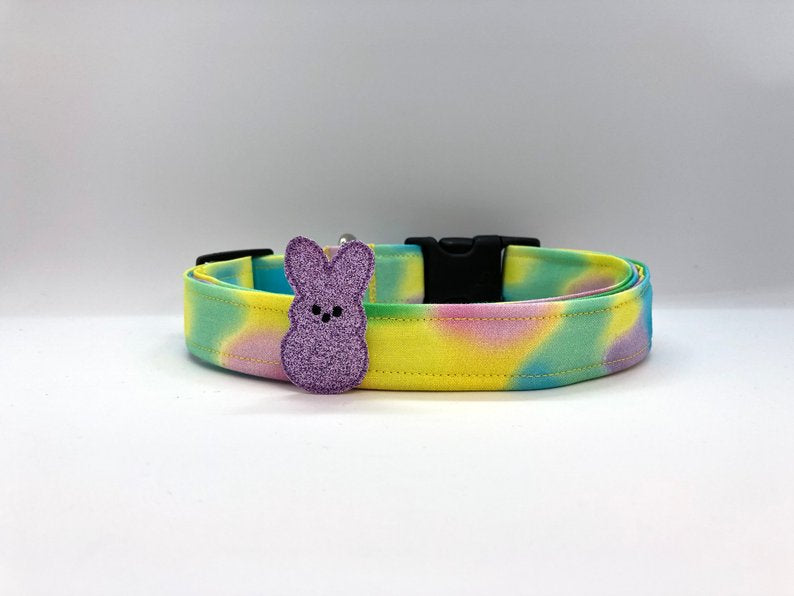 Easter Cotton Candy Swirl Dog Collar (w/ Optional Purple Bunny Embellishment)