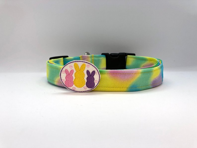 Easter Cotton Candy Swirl Dog Collar (w/ Optional Bunny Squad Embellishment)