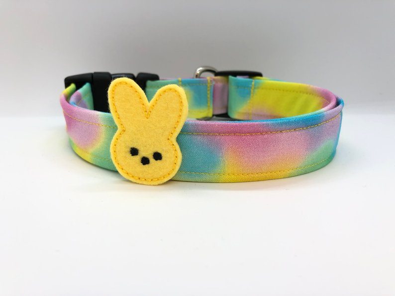 Easter Cotton Candy Swirl Dog Collar (w/ Optional Yellow Bunny Embellishment)