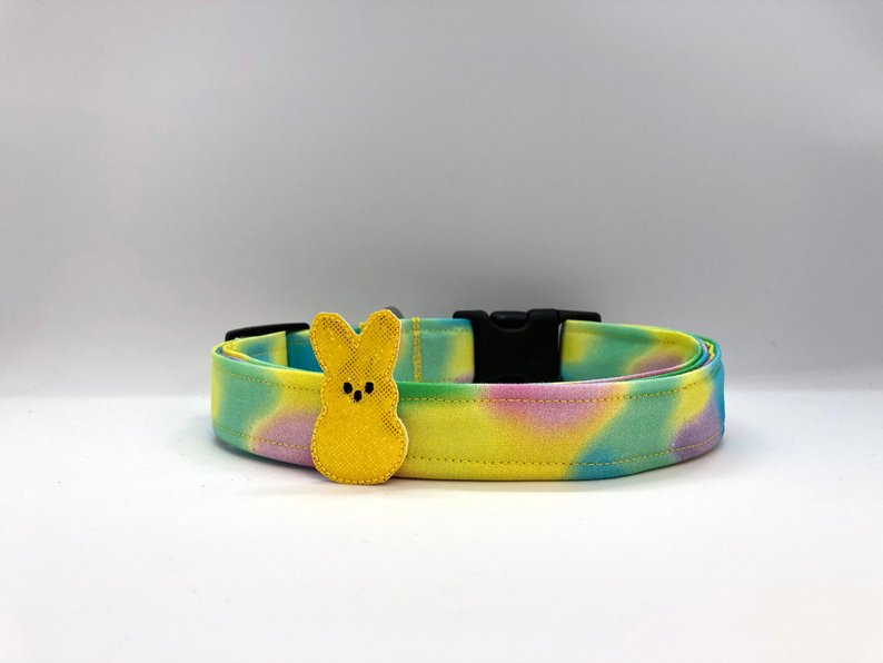 Easter Cotton Candy Swirl Dog Collar (w/ Optional Sparkly Yellow Bunny Embellishment)