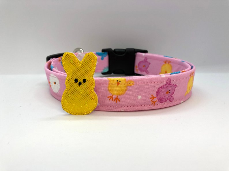 Chicks Easter Dog Collar (w/ Optional Sparkly Yellow Bunny Embellishment)