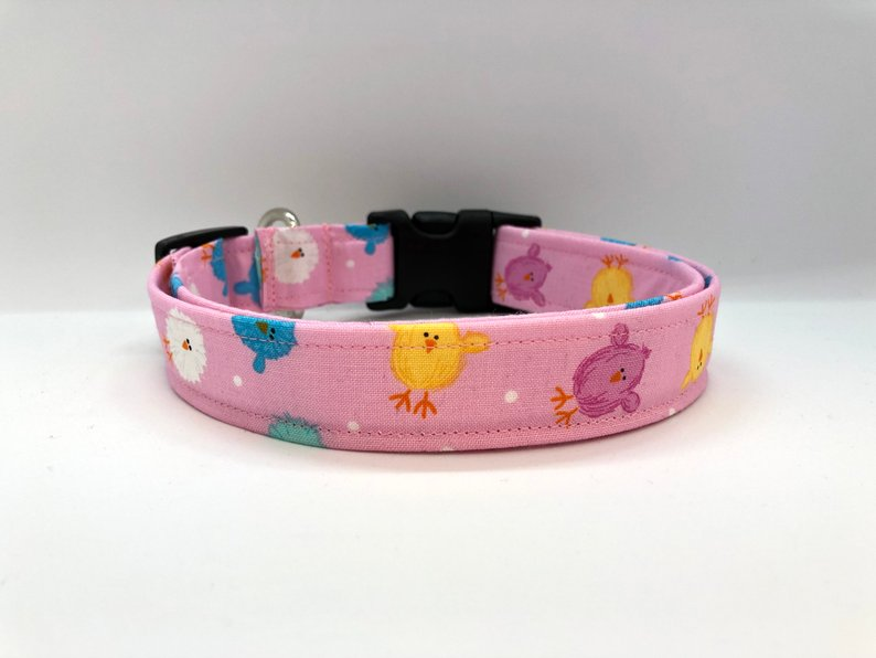 Chicks Easter Dog Collar (w/ Optional Sparkly Pink Bunny Embellishment)