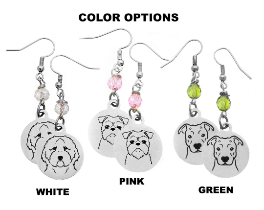 Portuguese Water Dog Portrait Earrings