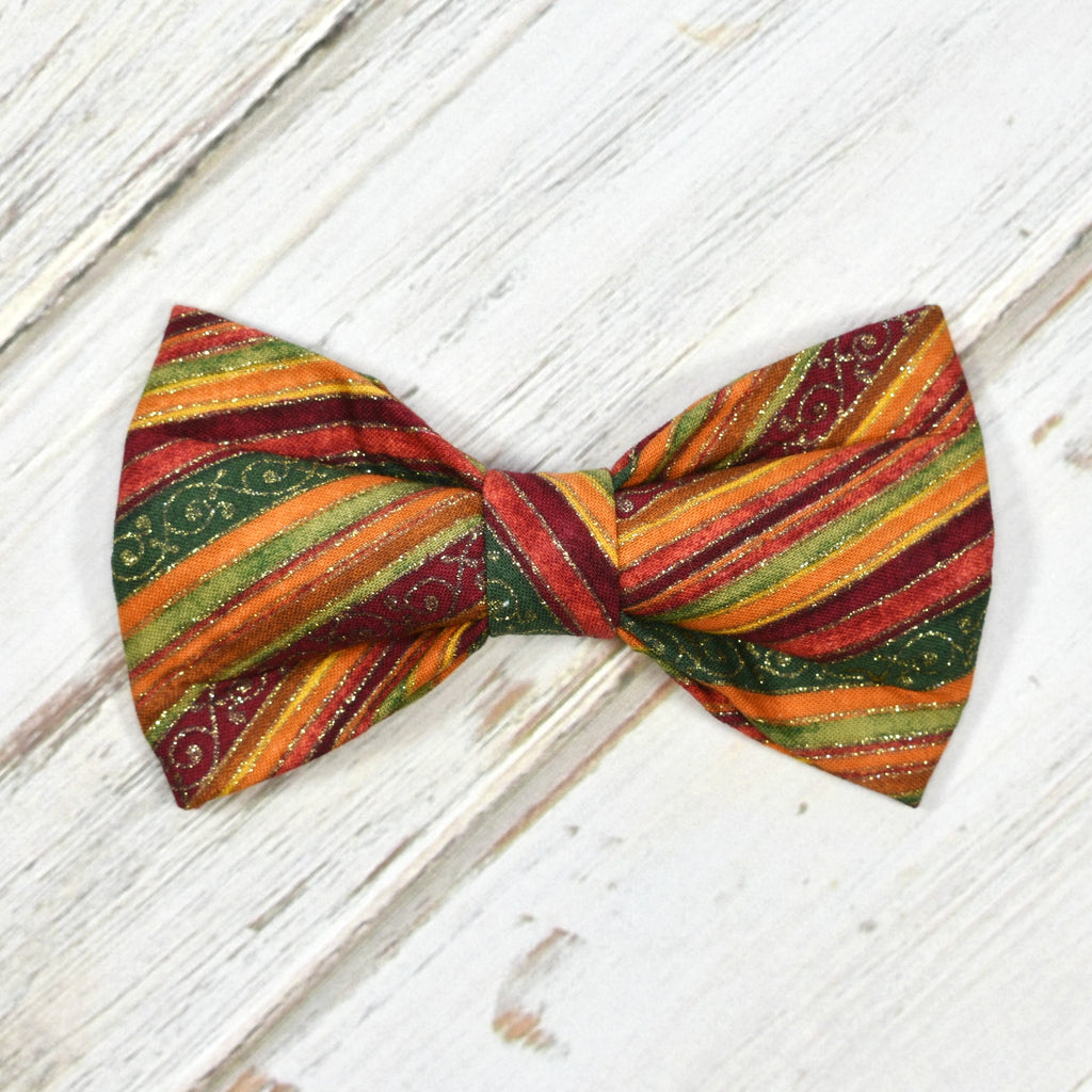 Fall Metallic Stripes Bow Tie