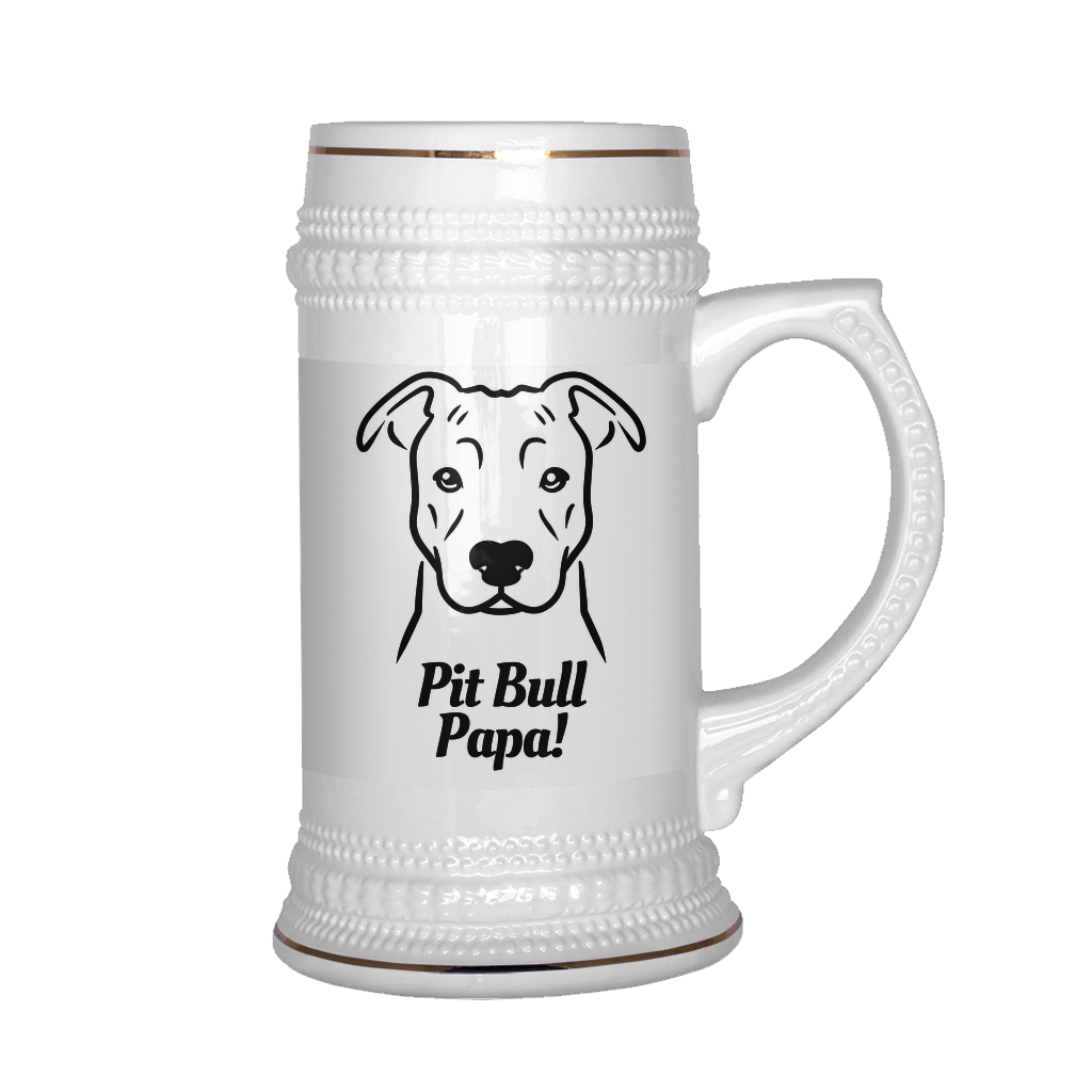Pit Bull (natural ears) Papa! Beer Stein