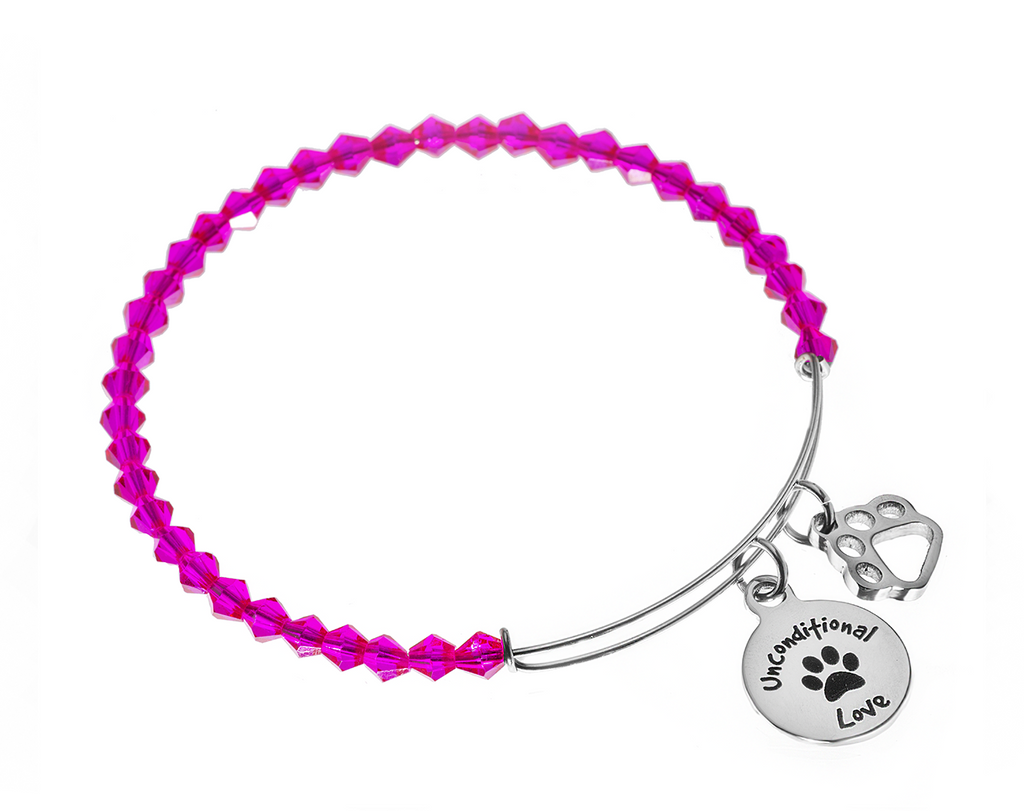 "Fuchsia Crystal ""Unconditional Love"" Bangle Bracelet (50% OFF)"