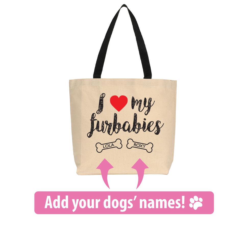 "Personalized ""I Love My Furbabies"" Tote Bag"
