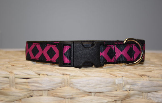 Nylon Pink & Black Lattice Collar