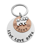 Personalized 'Live Love Bark' Keychain
