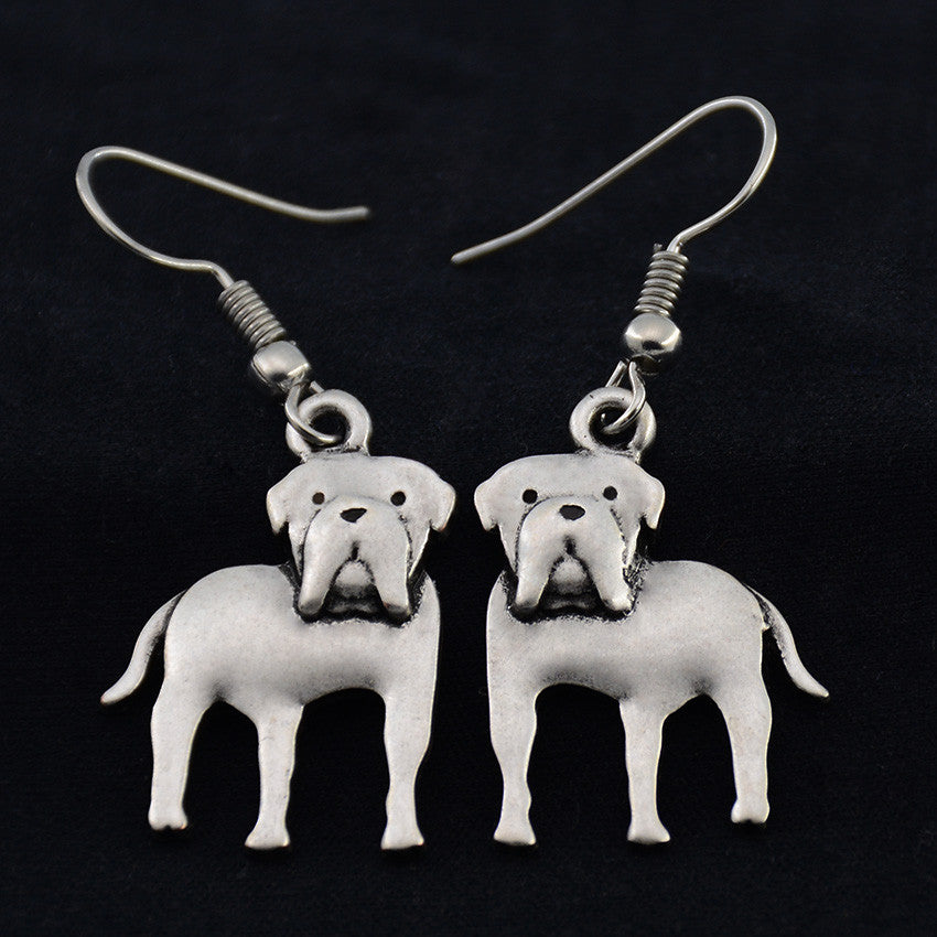 American Bulldog Vintage Earrings