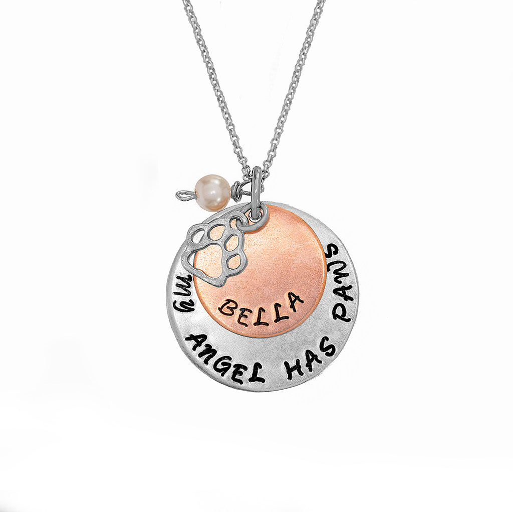 Personalized 'My Angel Has Paws' Memorial Necklace