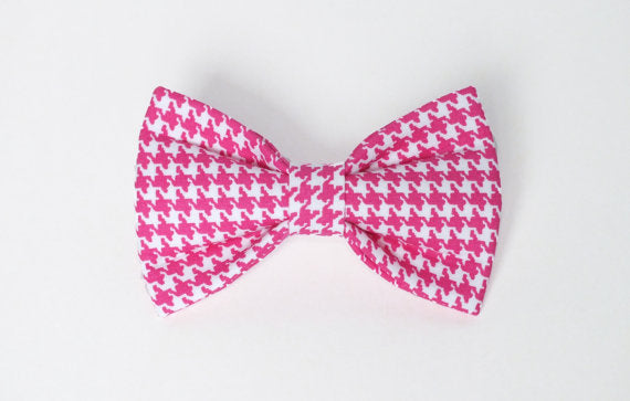 Pink Houndstooth Bow Tie