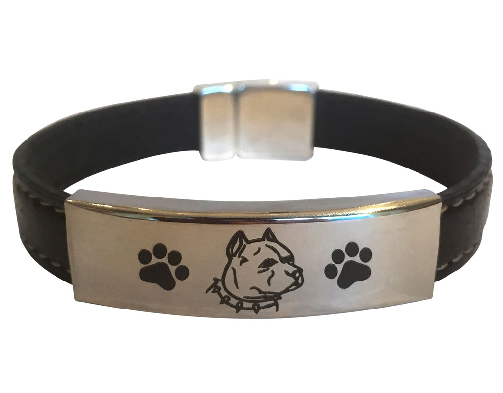 Premium Engraved Pit Bull (Cropped Ears) Bracelet (50% OFF)
