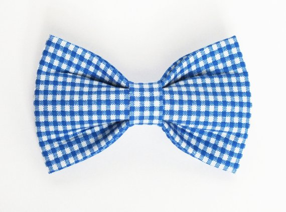Royal Blue Gingham Bow Tie