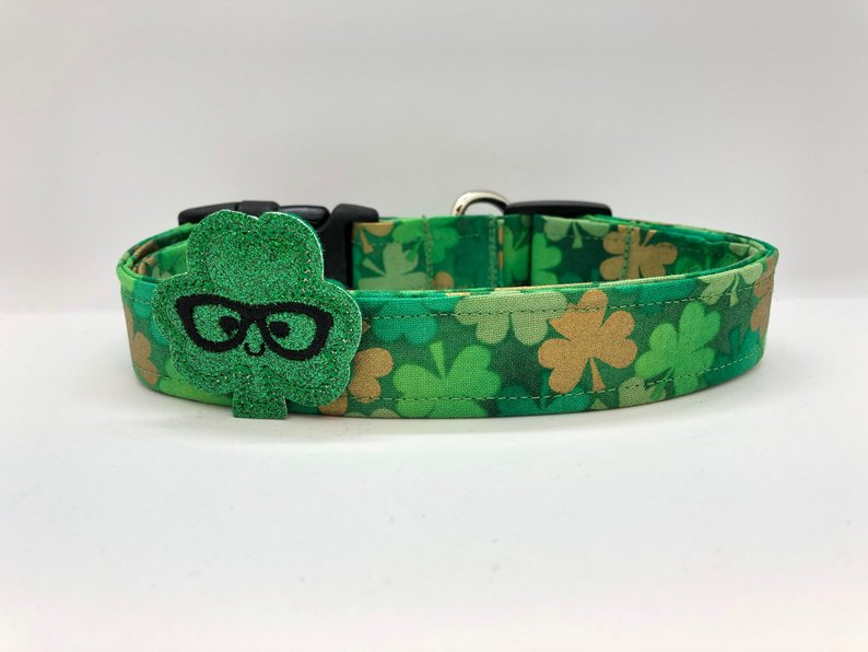 Light Green Shamrock Collar (w/ Optional Shamrock Embellishment)