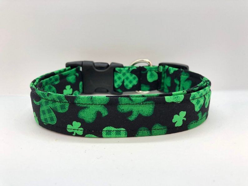 Green Shamrock Collar (w/ Optional Smiling Shamrock Embellishment)
