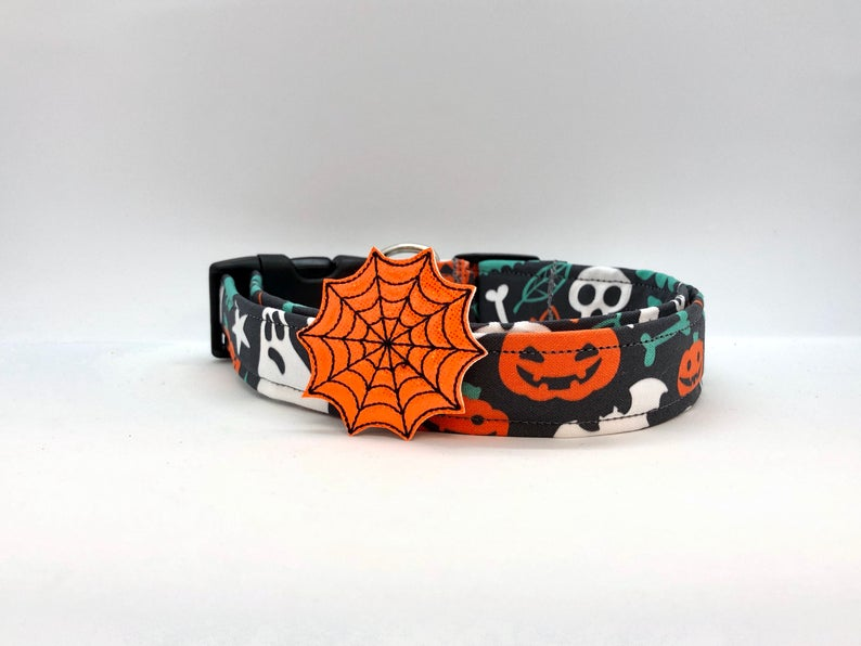 Halloween Spiderweb Dog Collar (w/ Optional Spiderweb Embellishment)