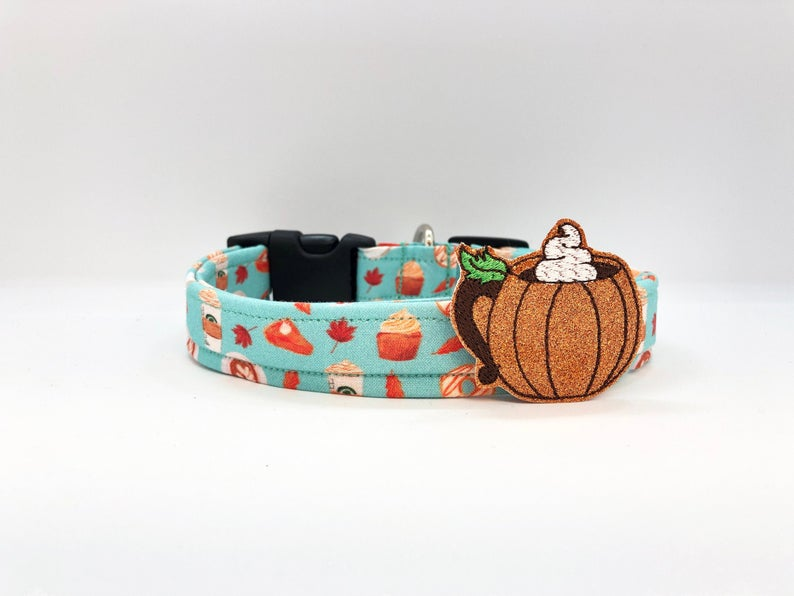 Thanksgiving Dog Collar (w/ Optional Pumpkin Spice Latte Mug Embellishment)