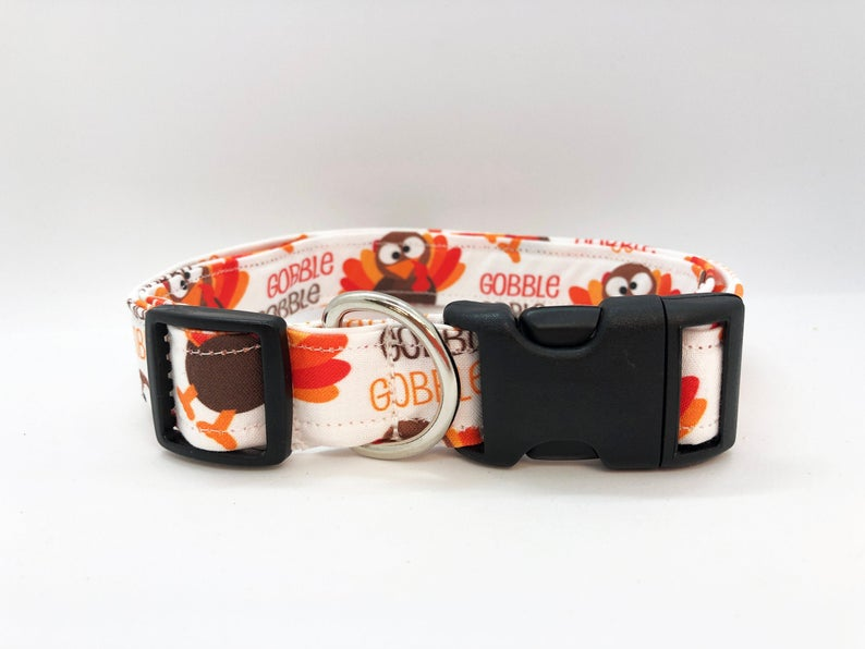Thanksgiving Turkey Gobble Dog Collar (w/ Optional Gobble Gobble Embellishment)