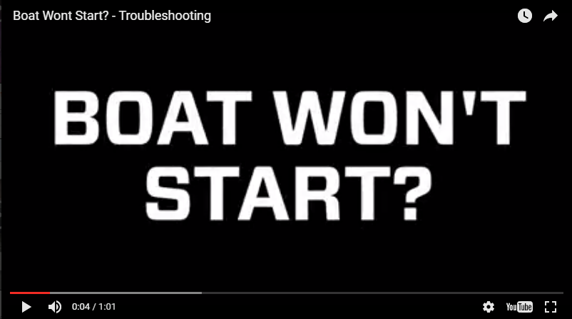BOAT WON'T START? - TROUBLESHOOTING
