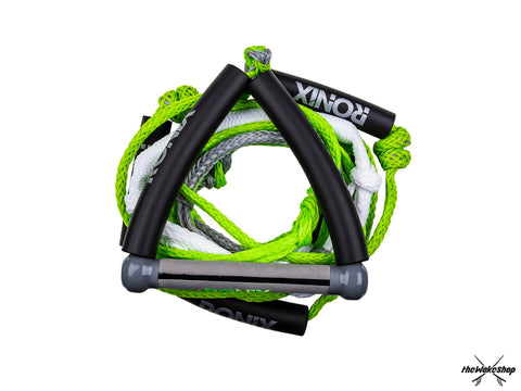 "Ronix 10"" Hide Grip Handle + 25 ft 5-Section Bungee Surf Rope - Green"