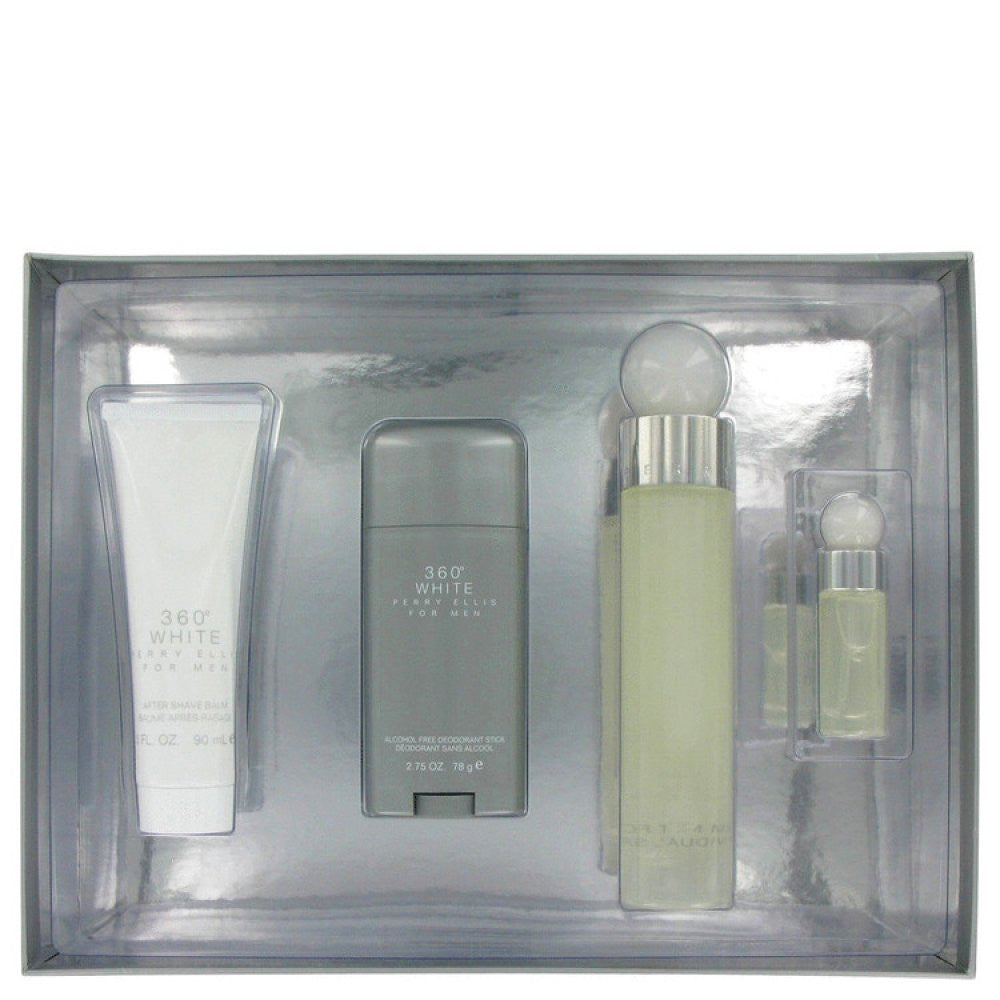Perry Ellis 360 White By Perry Ellis Gift Set -- 3.4 Oz Eau De Toilette Spray + 2.75 Deodorant Stick + 3 Oz After Shave Balm + .25 Oz Mini Edt Spray