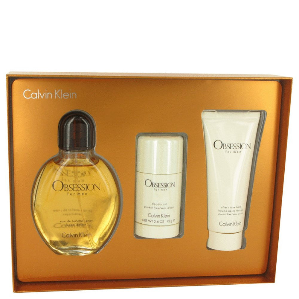 Obsession By Calvin Klein Gift Set -- 4 Oz Eau De Toilette Spray + 3.4 Oz After Shave Balm + 2.6 Oz Deodorant Stick