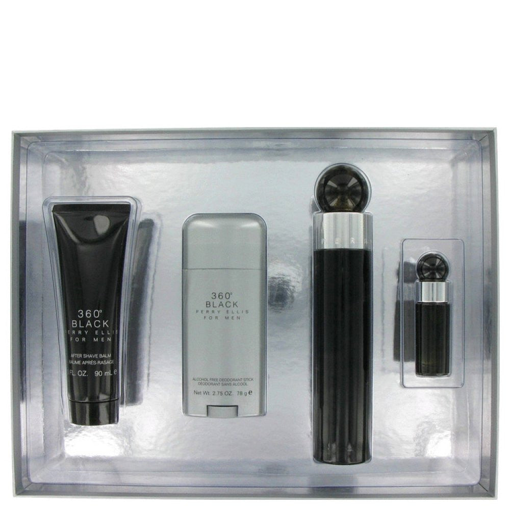 Perry Ellis 360 Black By Perry Ellis Gift Set -- 3.4 Oz Eau De Toilette Spray + 3 Oz After Shave Balm + 2.75 Oz Deodorant Stick + .25 Oz Mini Edt Spray