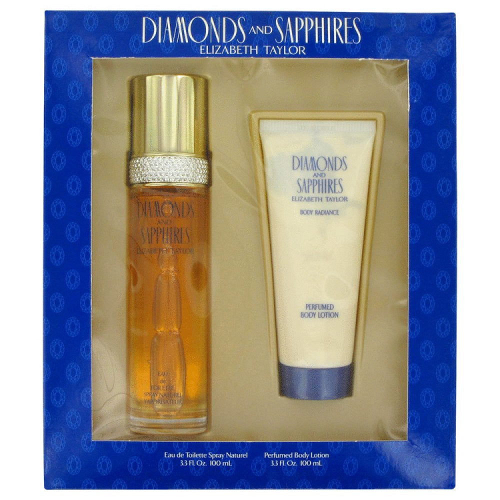 Diamonds & Saphires By Elizabeth Taylor Gift Set -- 3.3 Oz Eau De Toilette Spray + 3.3 Oz Body Lotion
